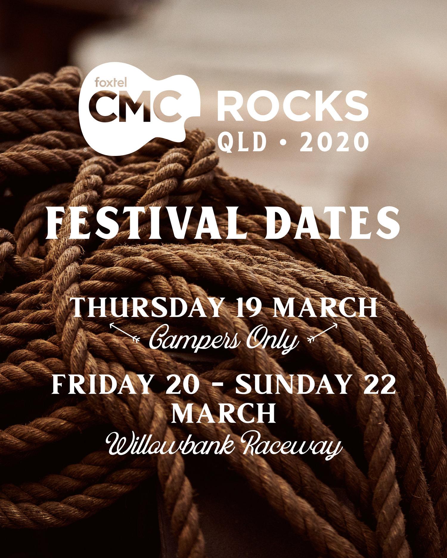 CMC ROCKS QLD | 2020 DATES ANNOUNCED — Potts Entertainment