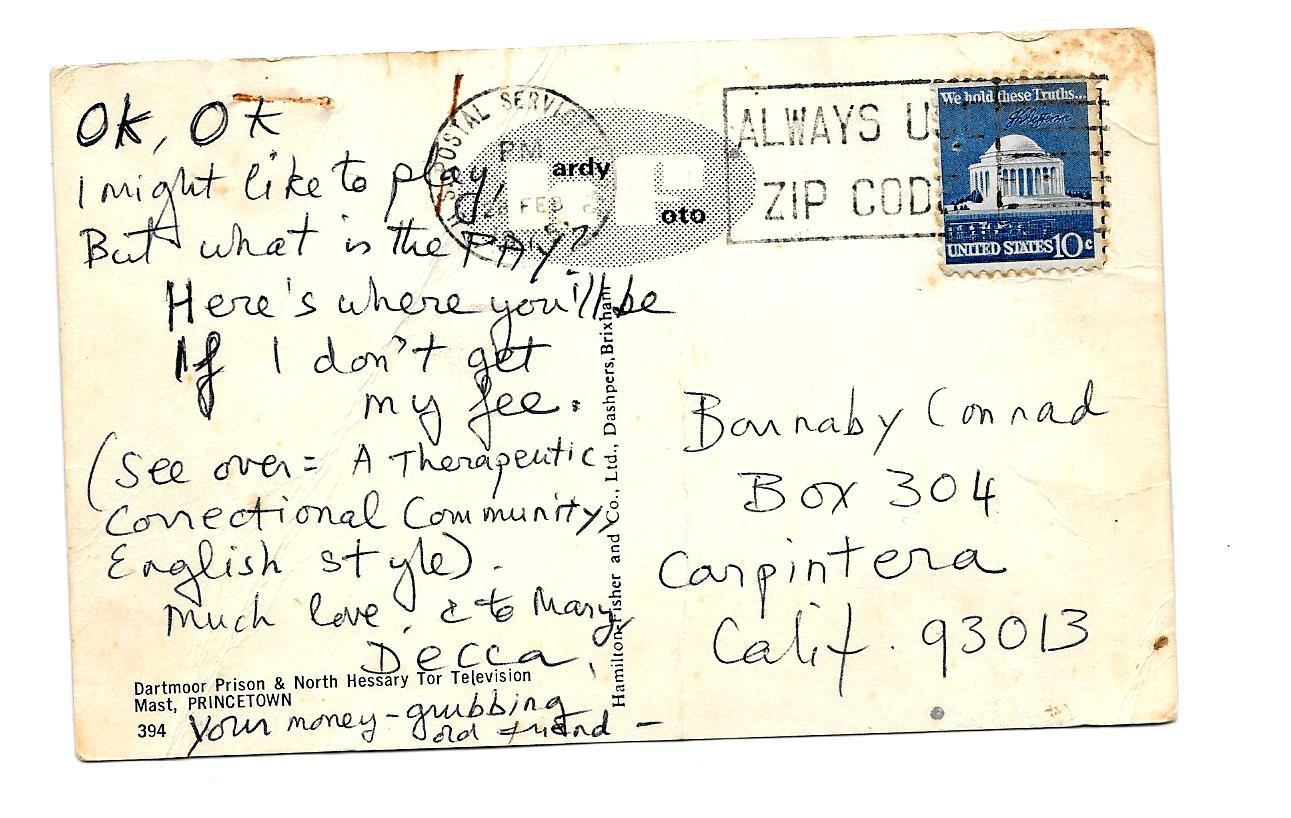 1977 Jessica Mitford Postcard 2