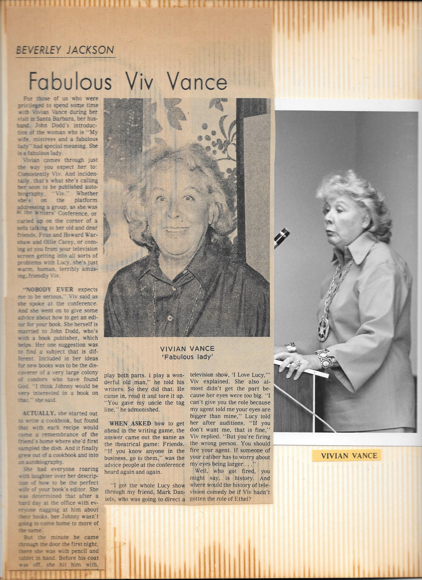 "Vivian Vance - A Star of ""I Love Lucy"""