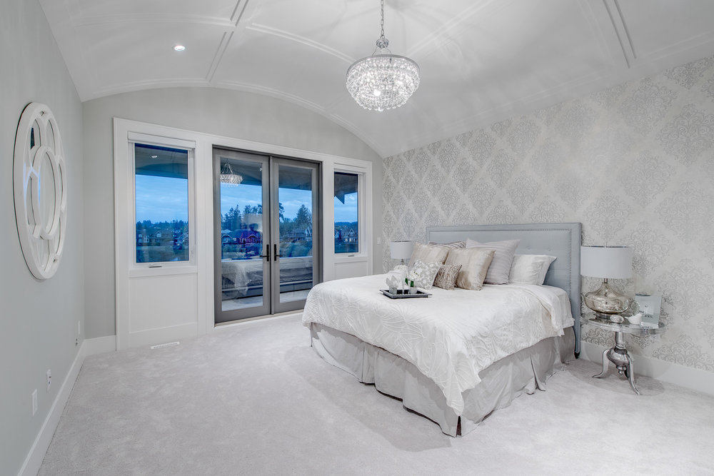 contemporary white master bedroom