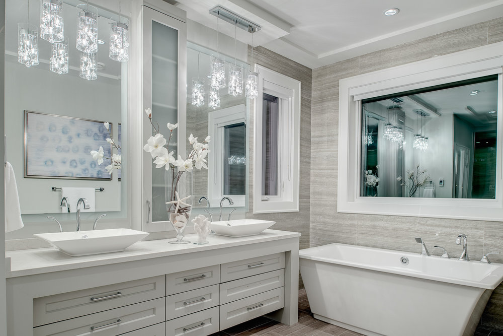 contemporary white master bath