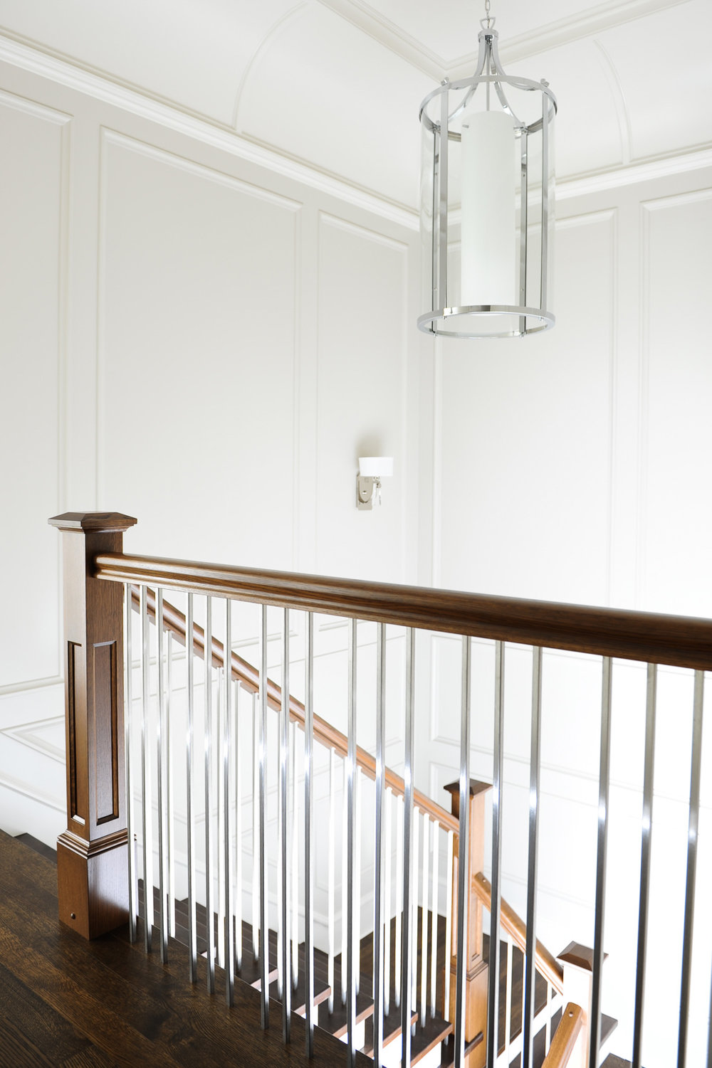 wood staircase and wall paneling