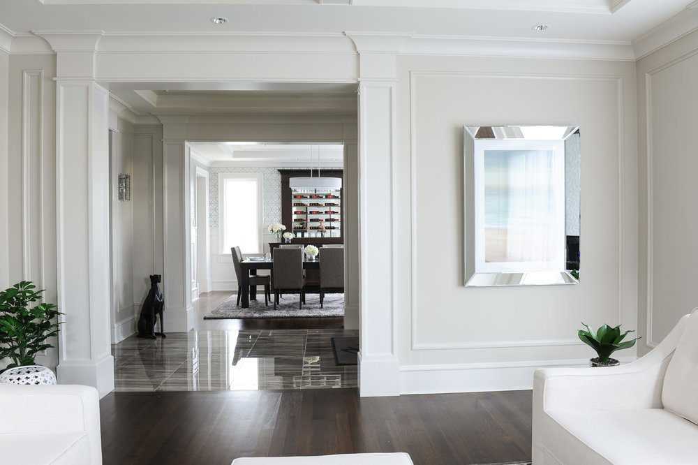 transitional white home interior