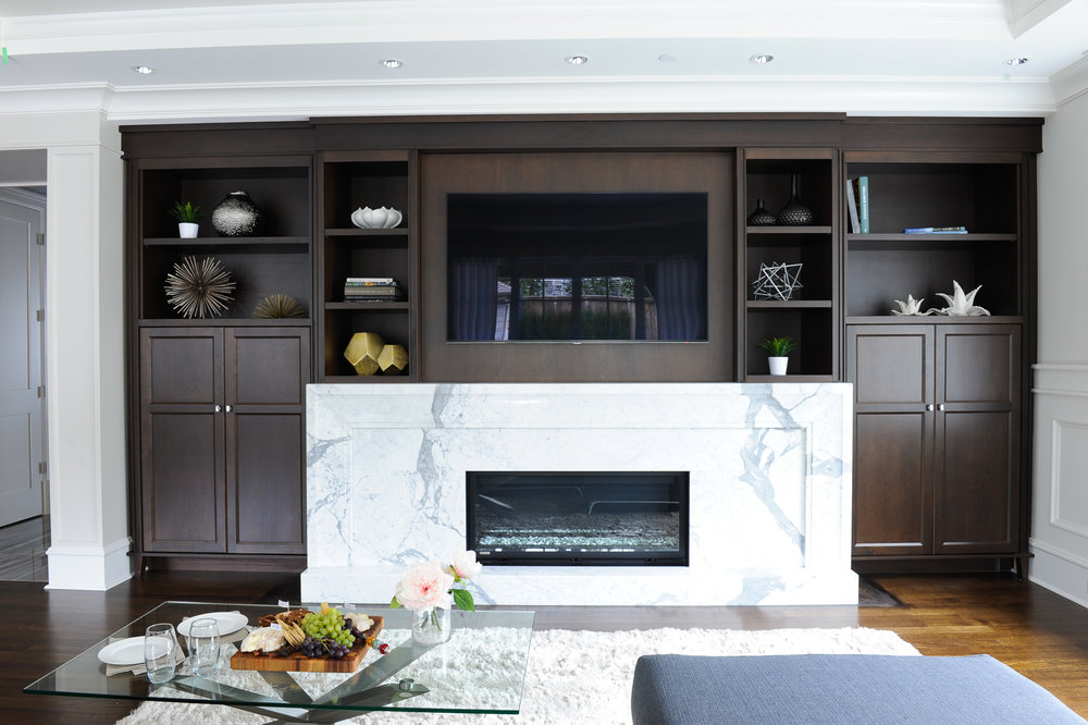 transitional family room fireplace