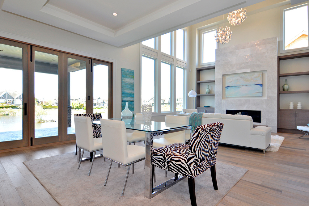 white contemporary dining and living