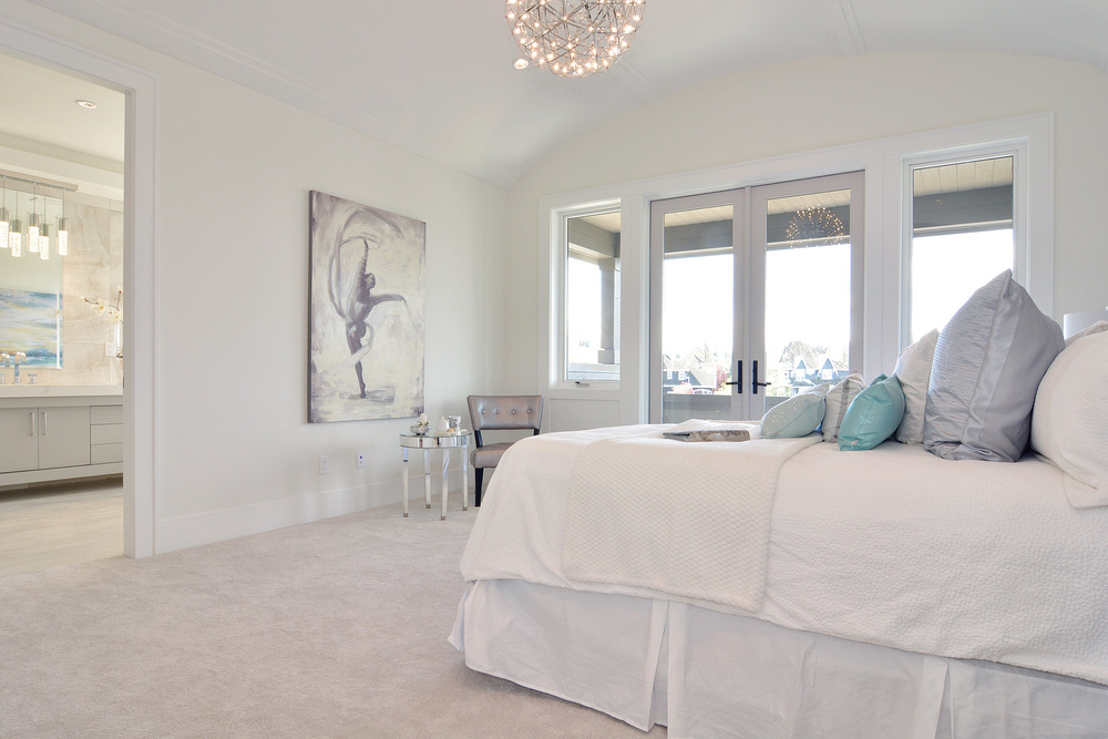 white contemporary master bedroom