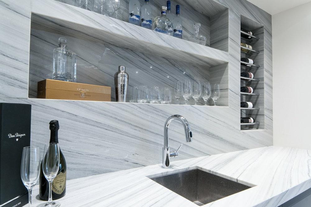 transitional home bar design
