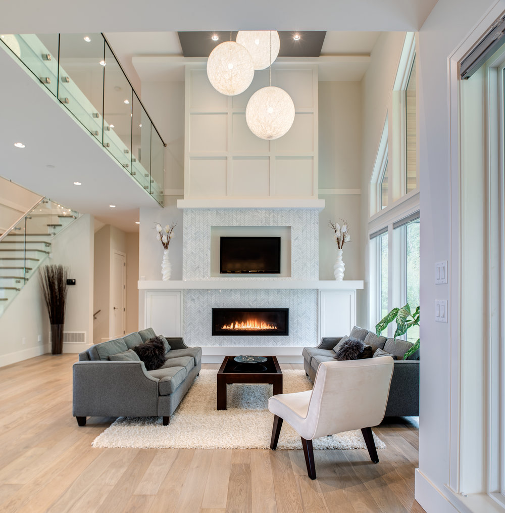 high ceiling living room fireplace
