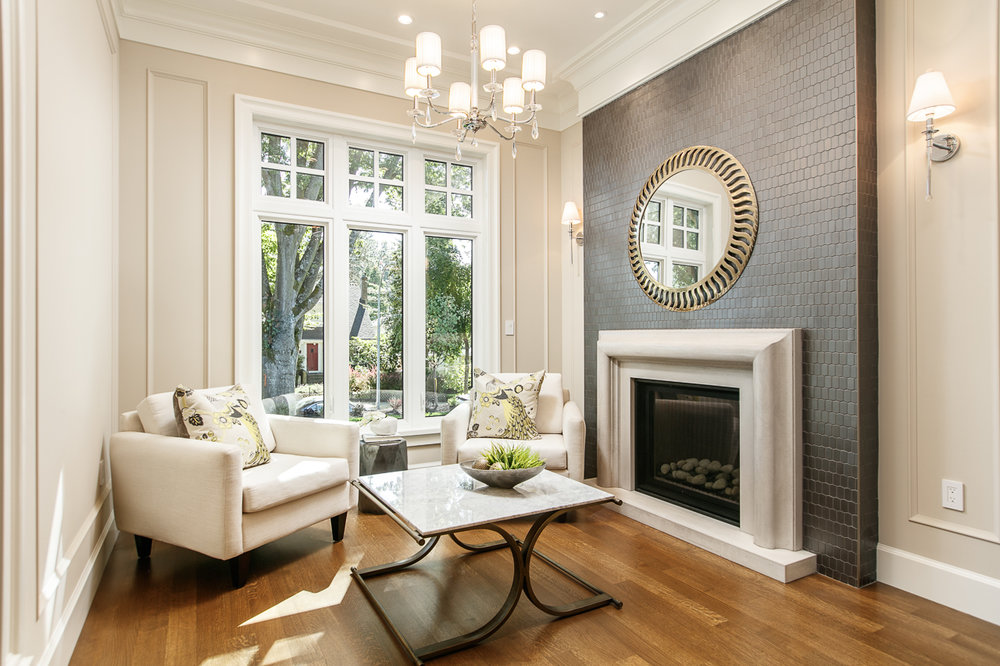transitional living room with fireplace
