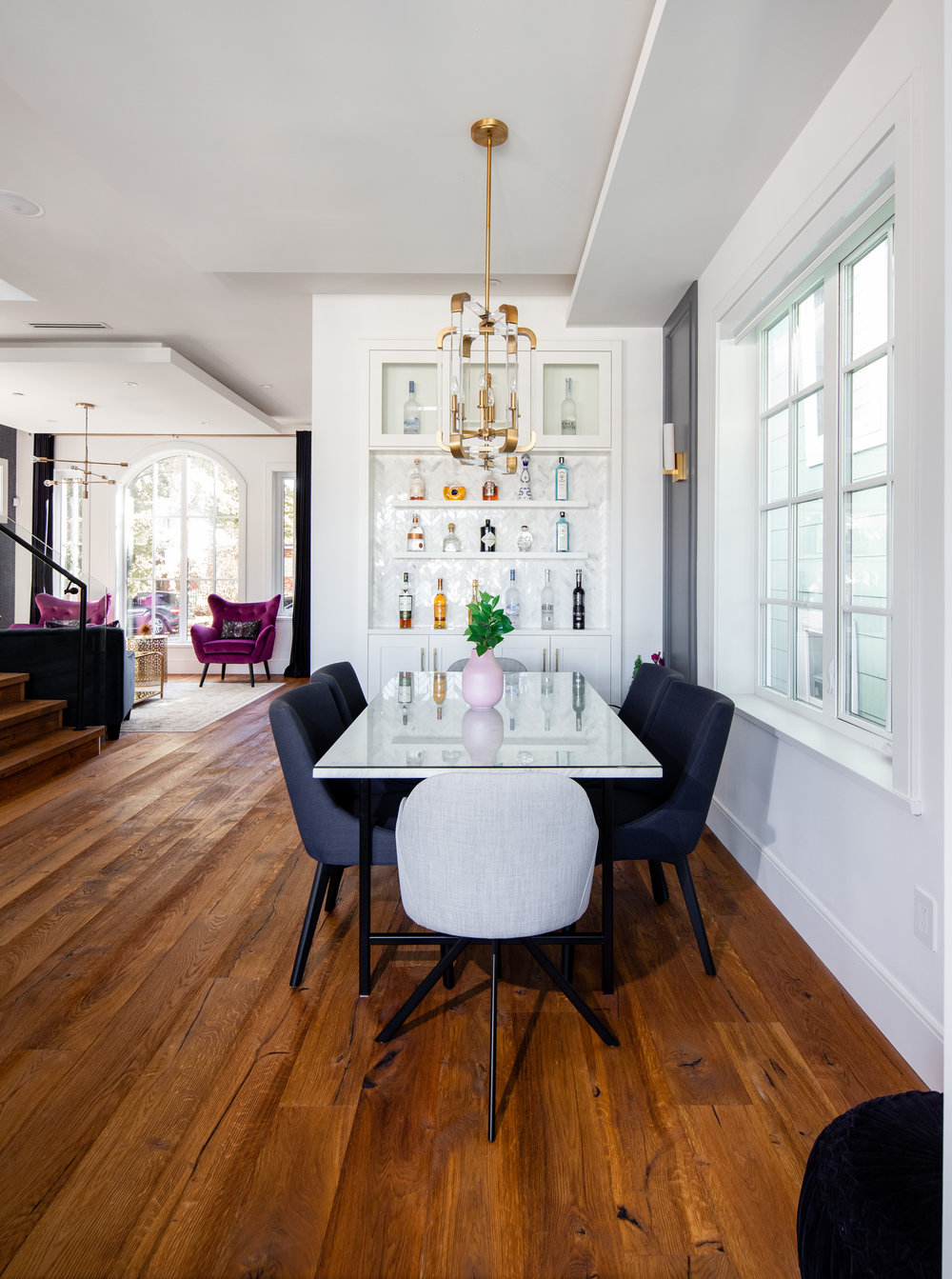 Dining room with wine wall