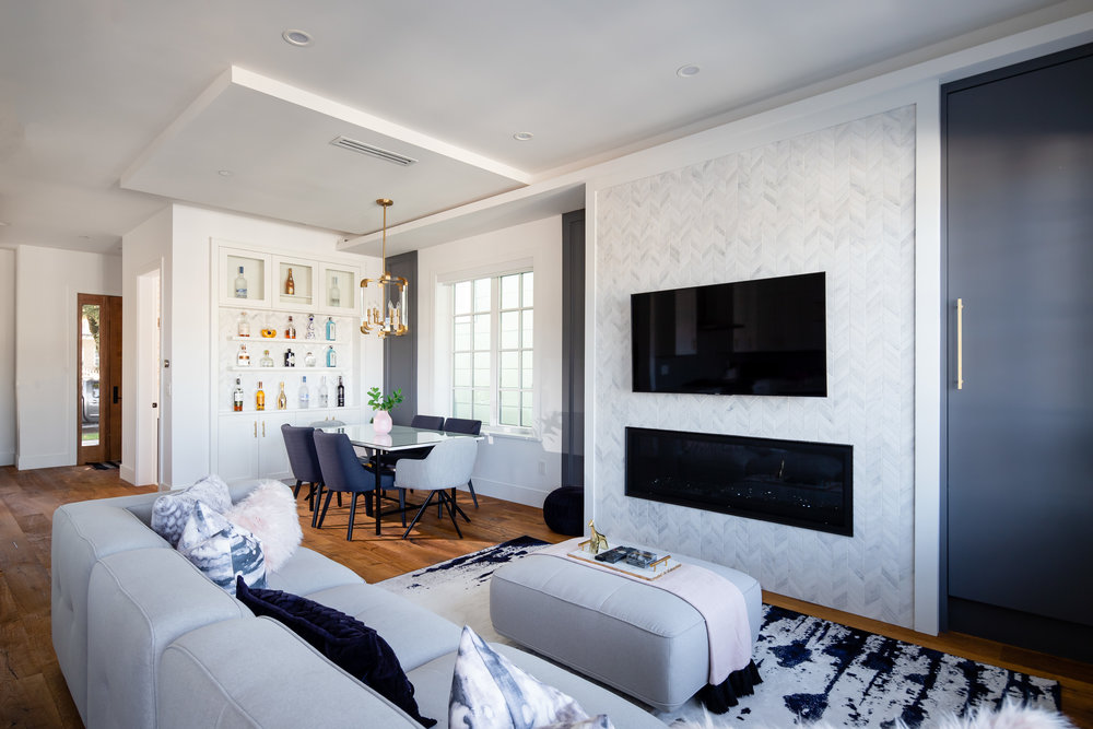 transitional family room and dining space