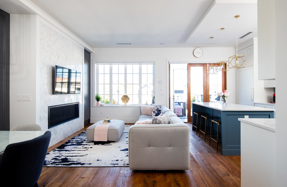 transitional kitchen and family room