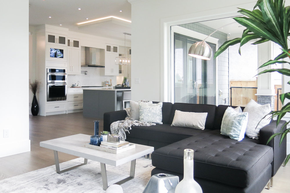 contemporary kitchen and living