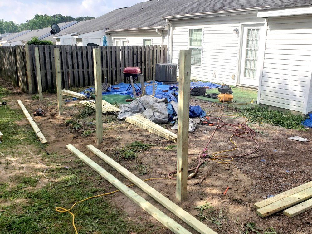 Fence demo with new posts set
