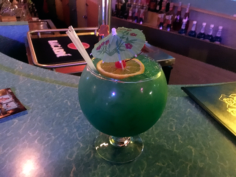 """The Fishbowl"" drink, about the size of a bowling ball."