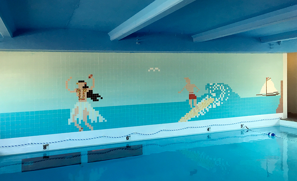 Tile mural of the motel pool, on the south wall above the Sip 'n Dip.