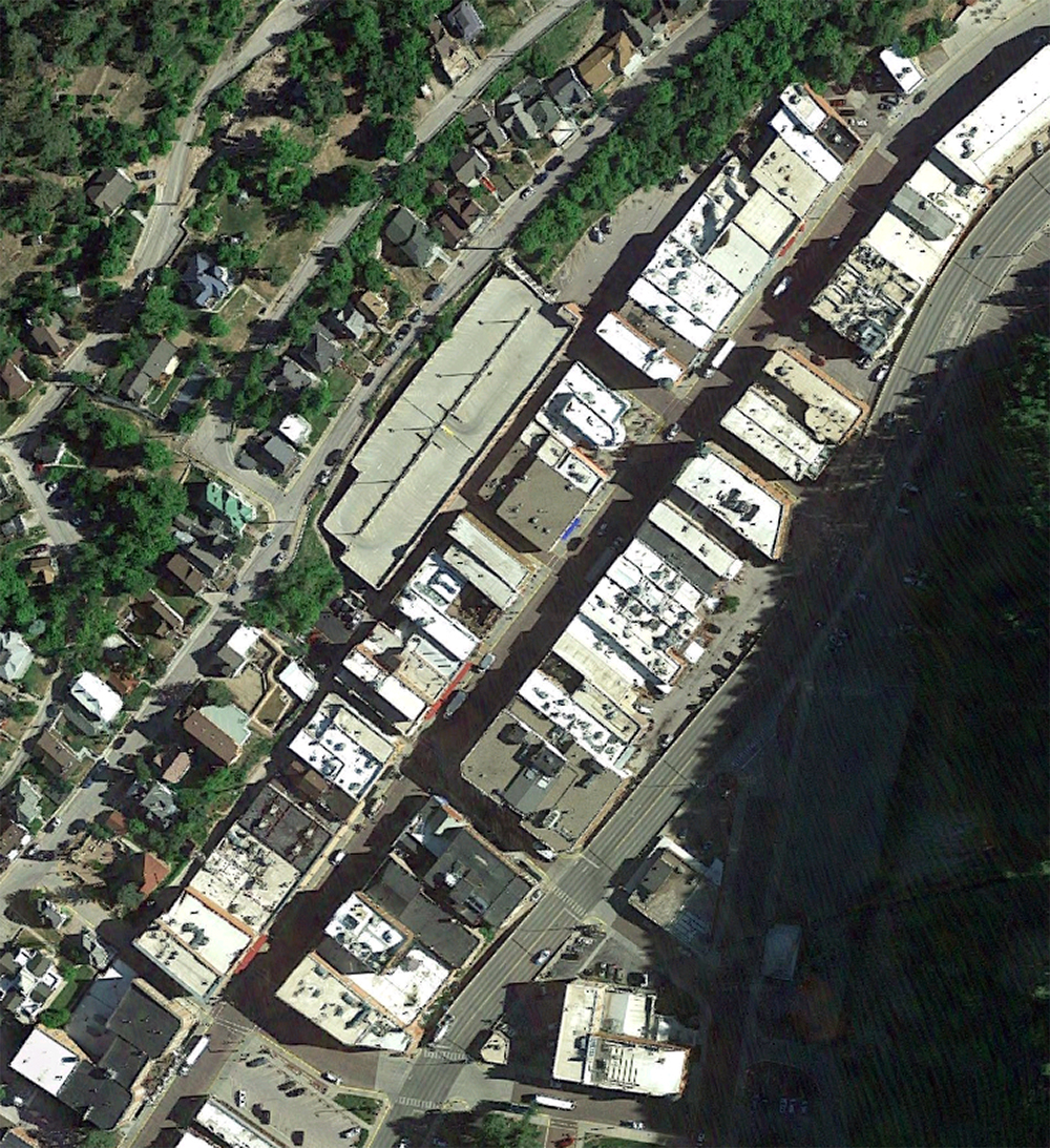 Deadwood historic main street, satellite view.