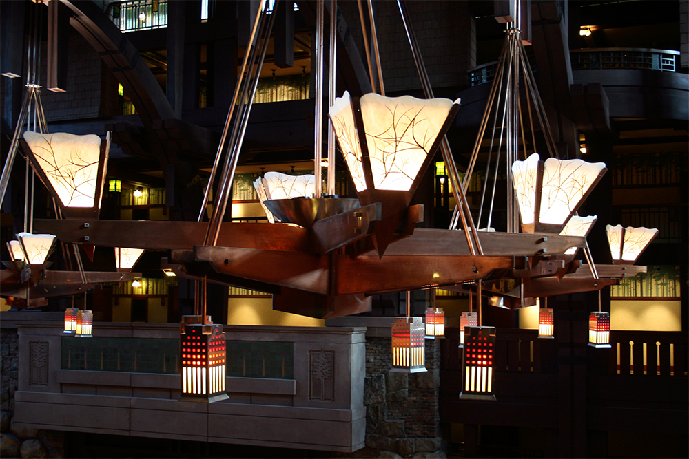 Lighting fixtures in the main lobby.