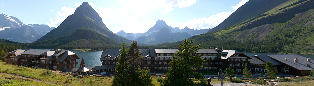 A panorama of the hotel complex, facing west.