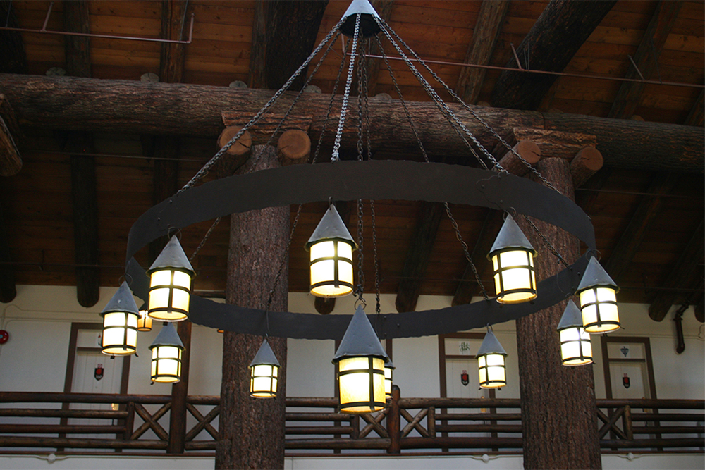 Lobby lighting in the rustic style.