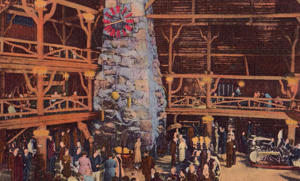 Vintage postcard, Old Faithful Inn Lobby.