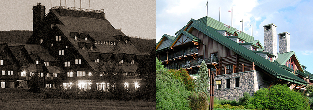 Old Faithful Inn, Yellowstone / Wilderness Lodge, Walt DIsney World.