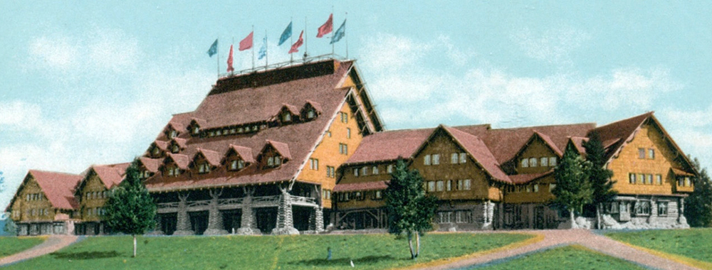 Vintage postcard of the Old Faithful Inn.