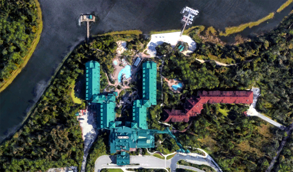Wilderness Lodge, satellite view.