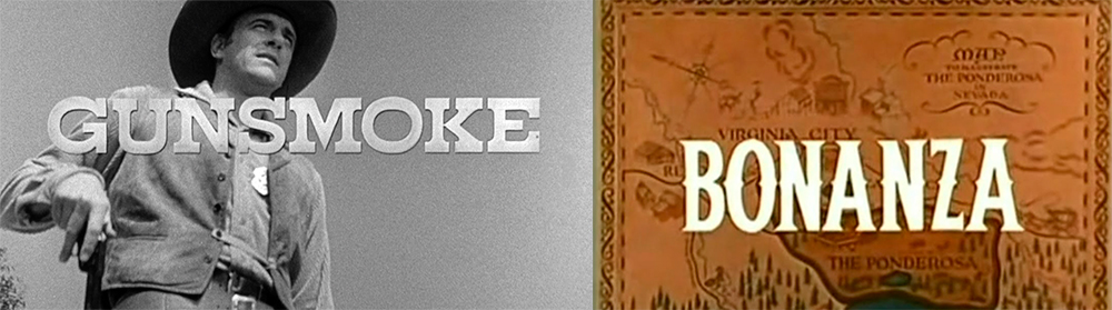Opening titles of two very popular and long-running television Westerns.