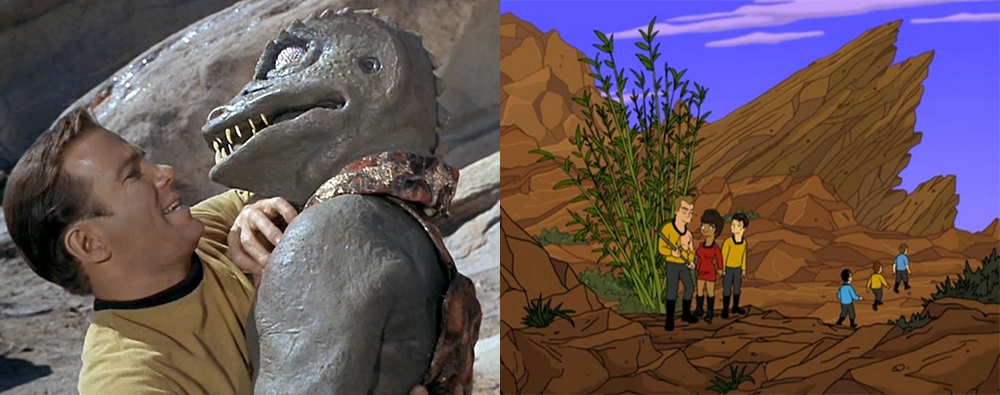 Vasquez Rocks on Star Trek, and Futurama doing Trek.