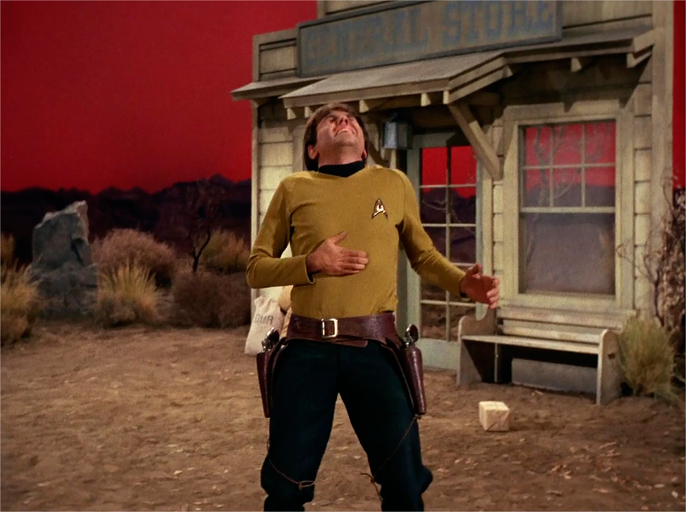 As Chekov is shot, a false front stage set can be seen behind him.