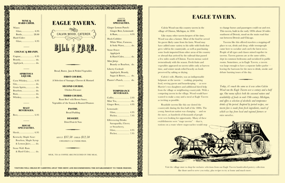 Eagle Tavern  Bill of Fare . Click to enlarge and read the tavern's history.