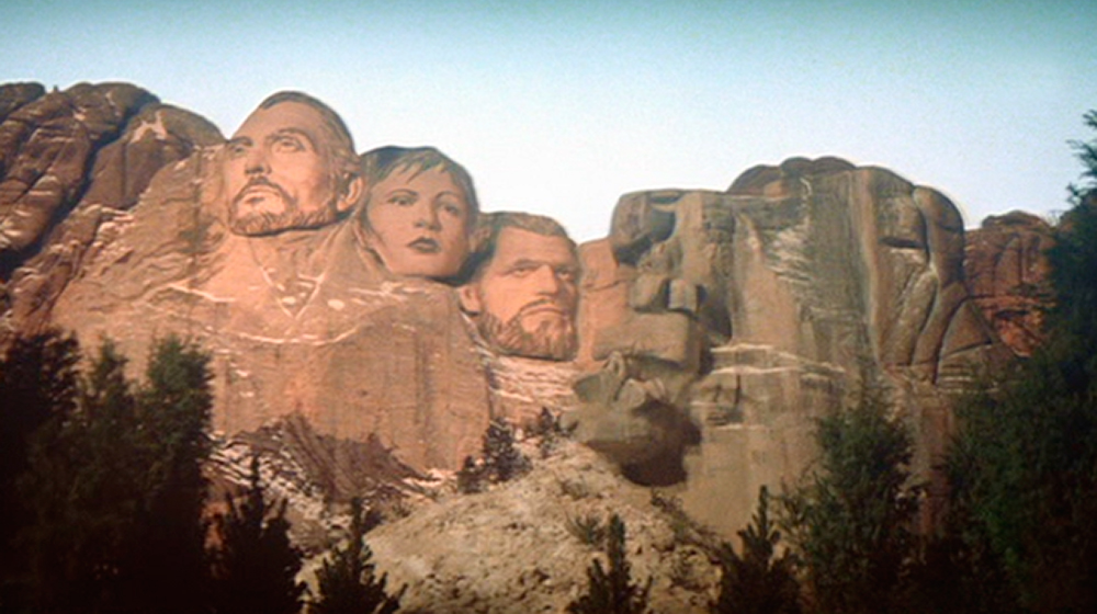 The defaced Mount Rushmore in  Superman II  (1980). Screen cap from my  Superman  Ultimate Collector's Edition DVD box set (2007).