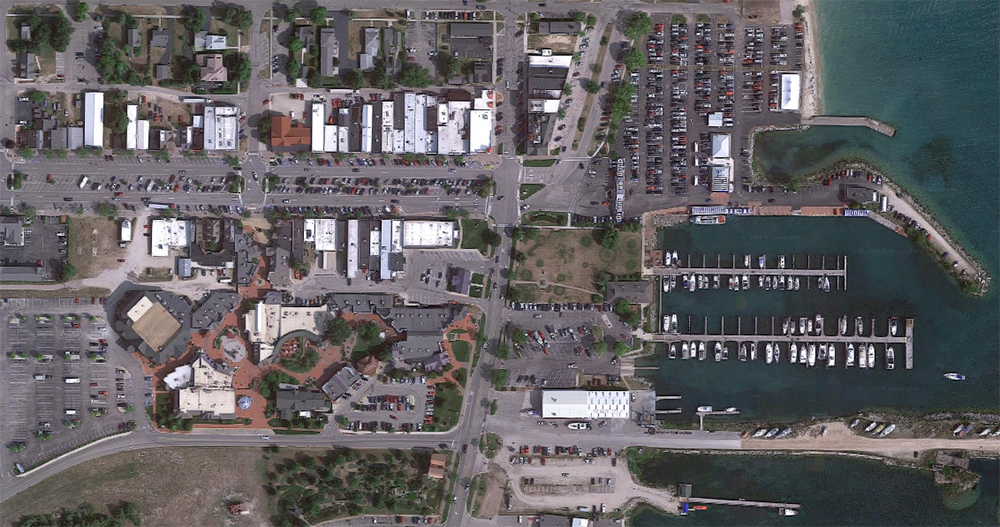 Mackinaw City, satellite view. Click for Google Map link.