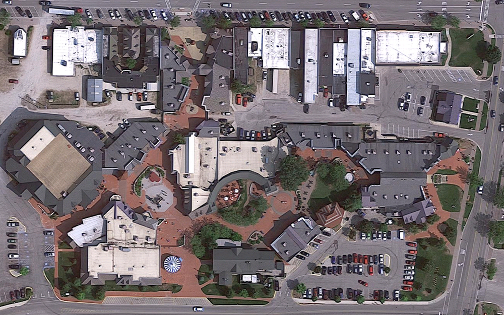 Mackinaw Crossings  shopping development, satellite view.