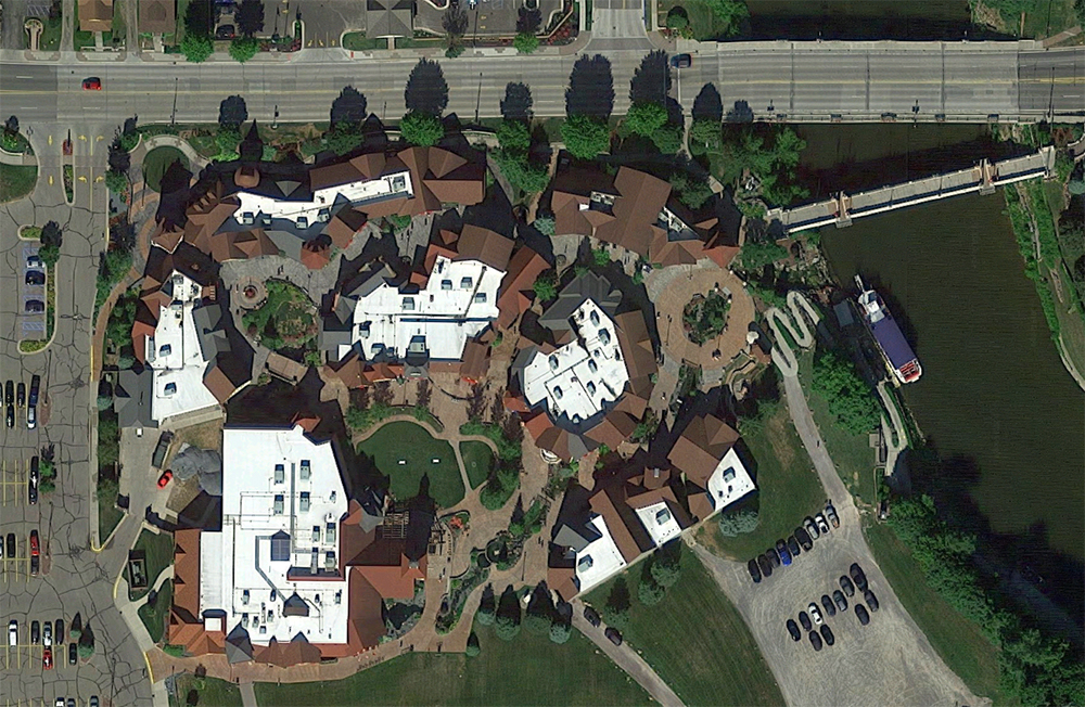 Frankenmuth River Place Shops, satellite view. Click for Google Map link.
