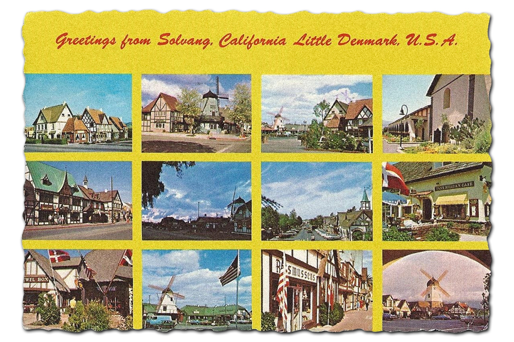 Vintage postcard of Solvang, California.