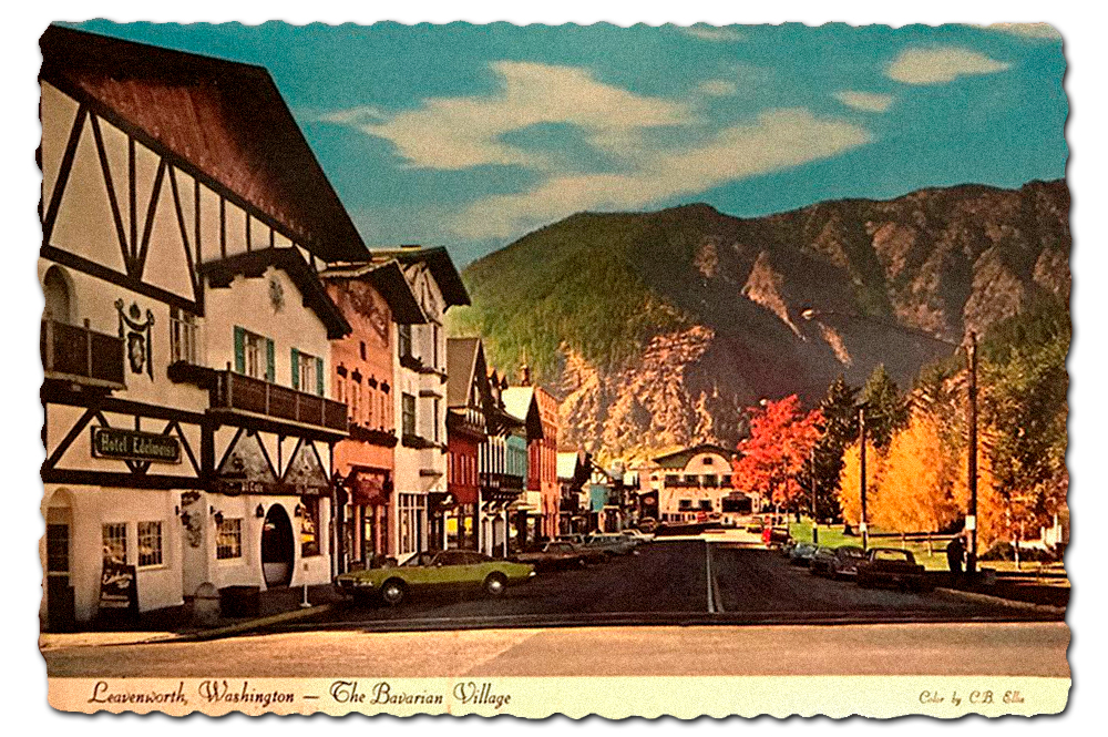 Vintage postcard of Leavenworth, Washington.