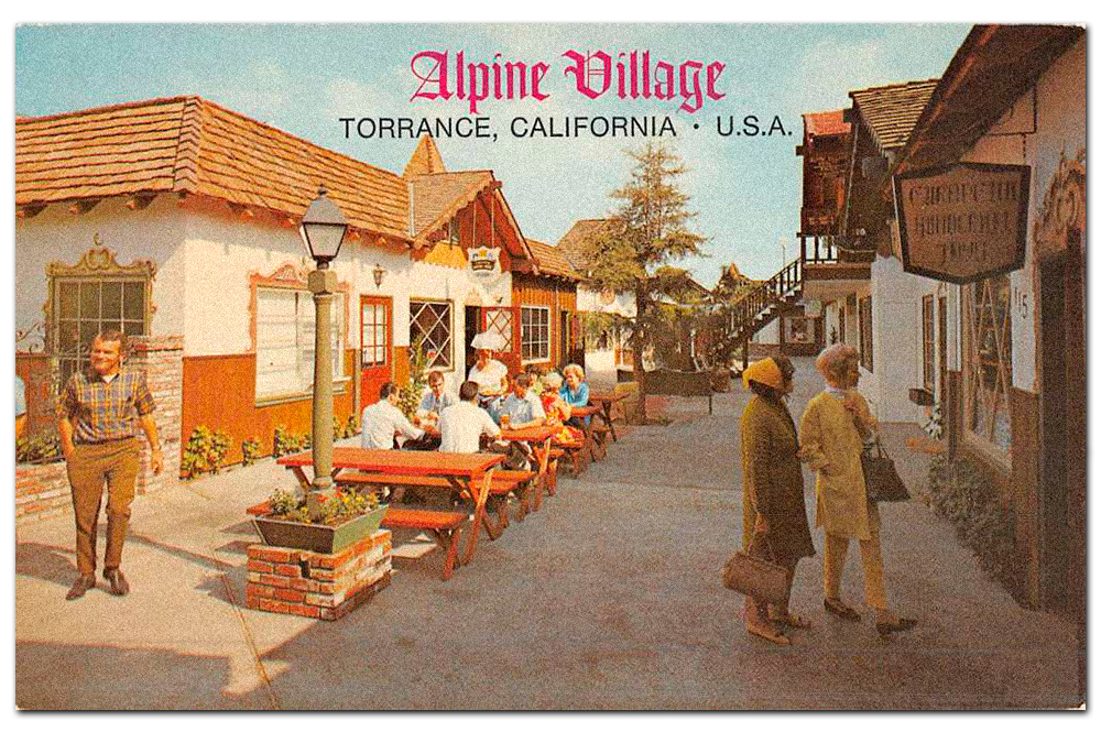 Vintage postcard of  Alpine Village , Torrance, California.