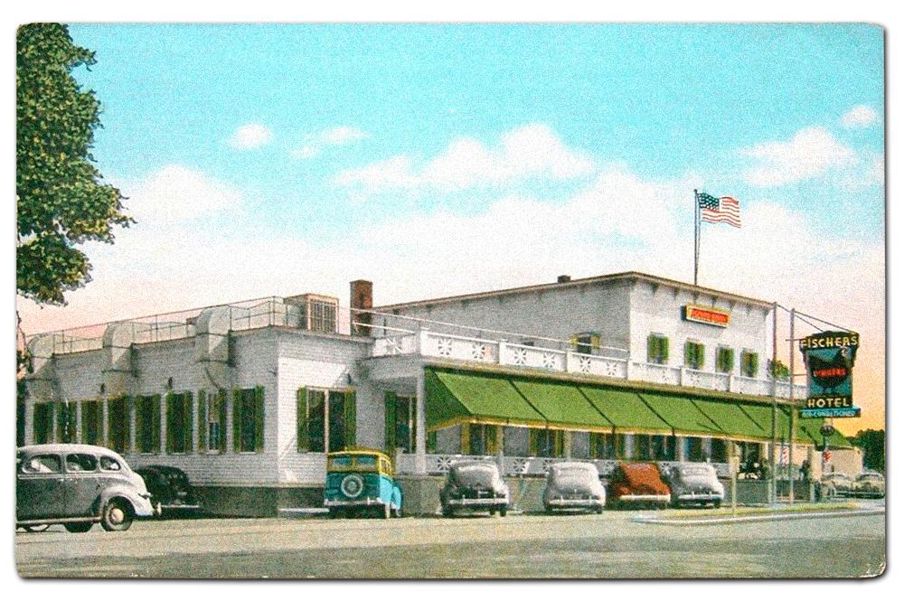 Vintage postcard of Fischer's Hotel.