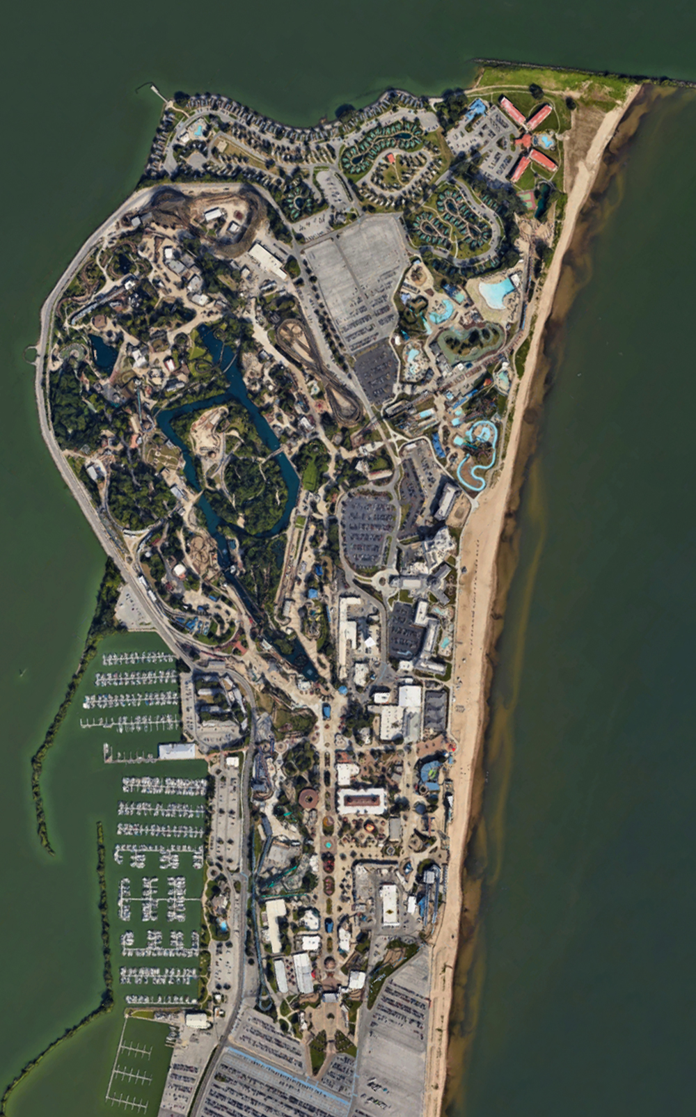 Cedar Point, satellite view. Click for Google Map link.