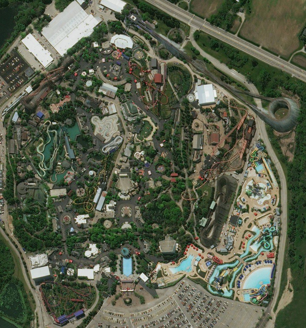 Six Flags Great America, satellite view. Click for Google Map link.