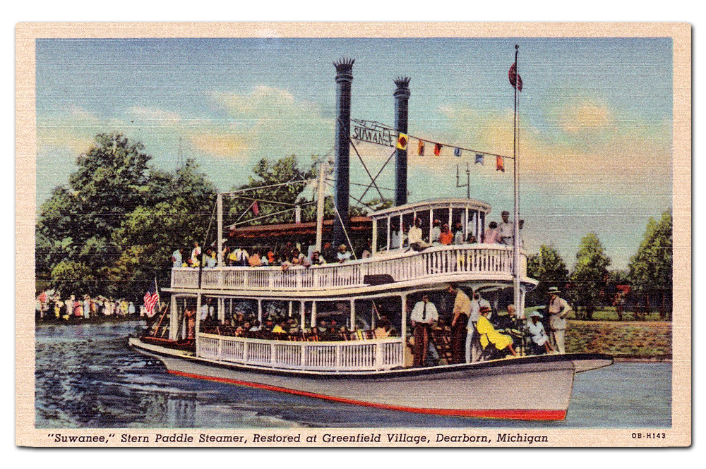 Vintage postcard,  Suwanee  Riverboat at Greenfield Village.