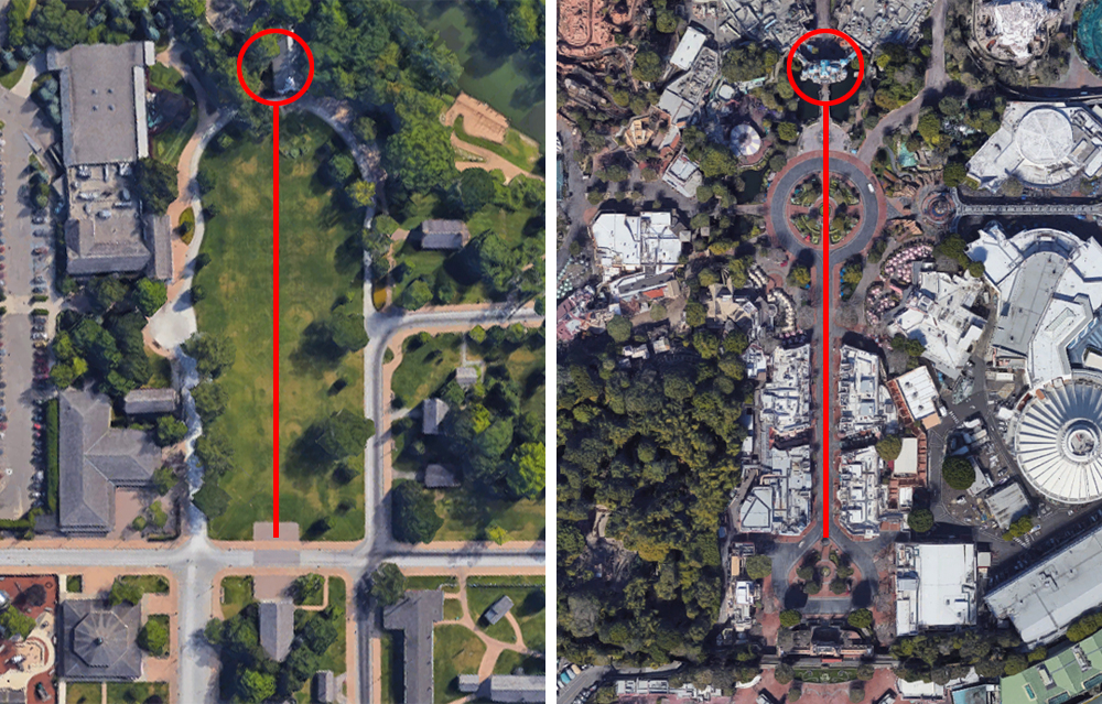 Left:  Village Green,  Greenfield Village. Right:  Main Street U.S.A. , Disneyland.