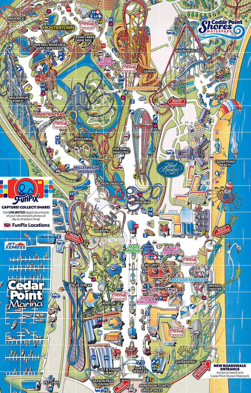 Cedar Fair park map, 2017.
