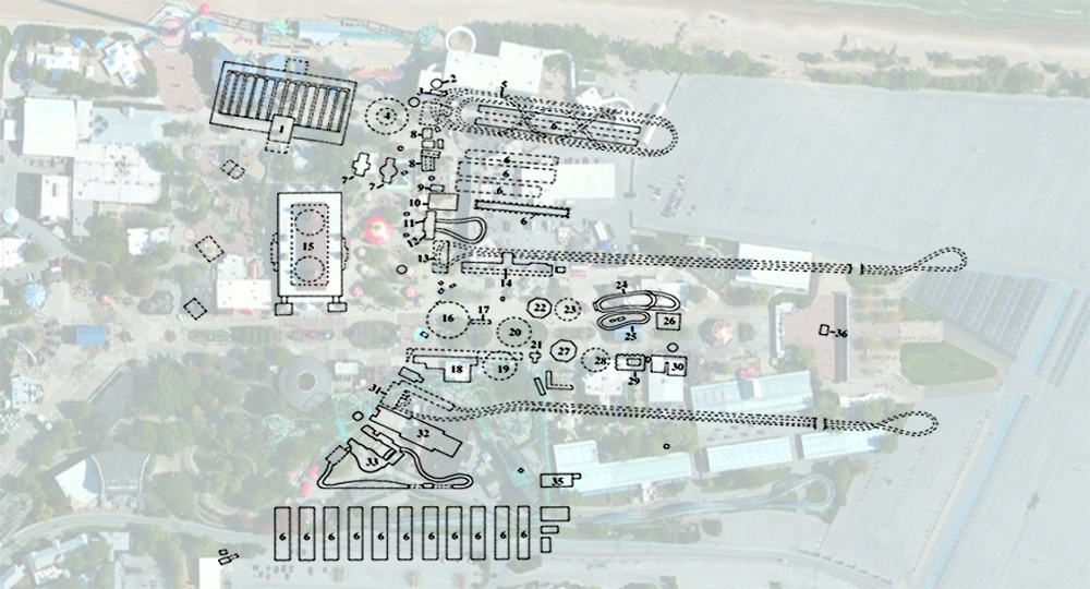 1935 map of amusements over a current satellite image.