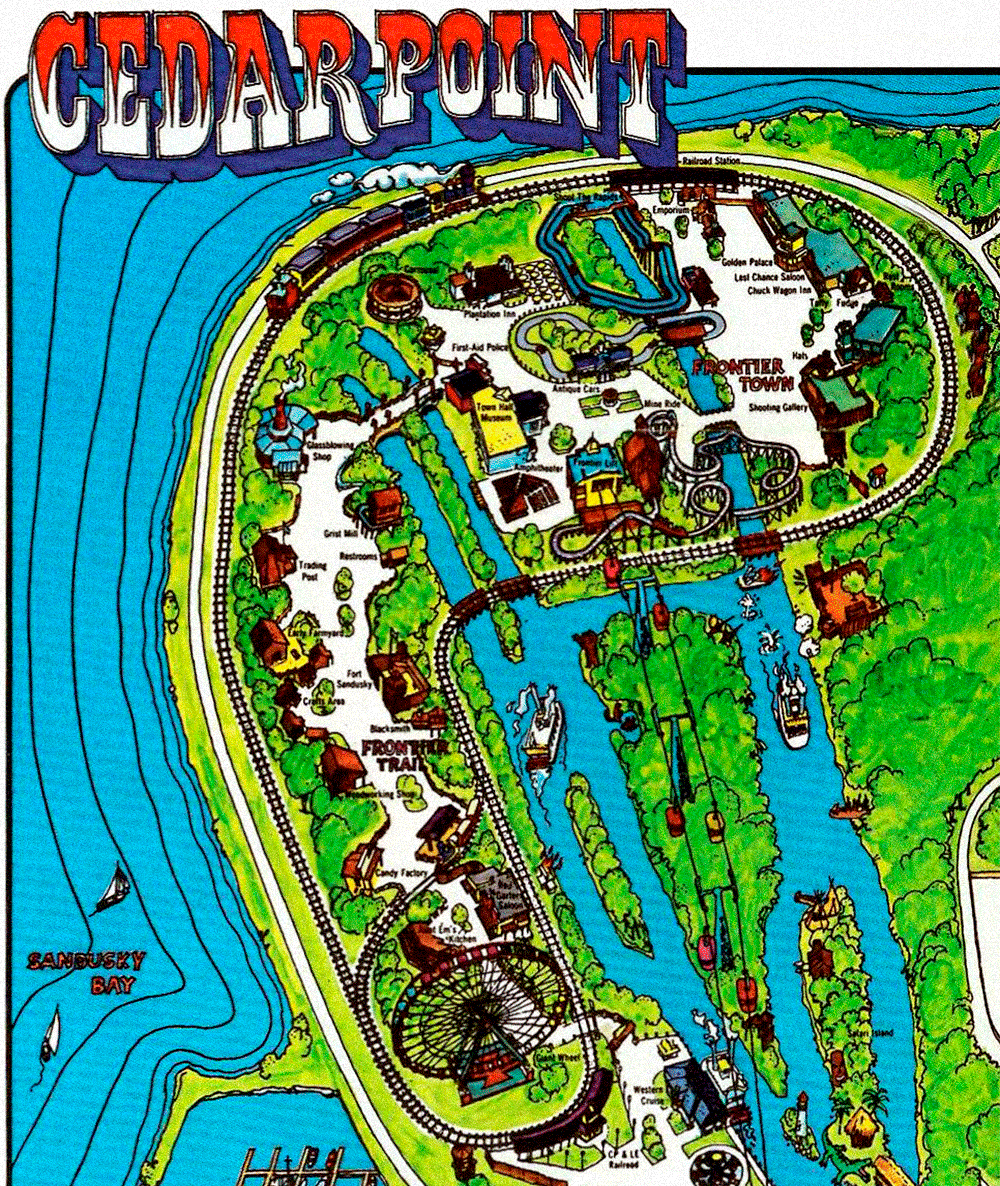 Cedar Point park map showing  Frontier Town  and  Frontier Trail , 1972.
