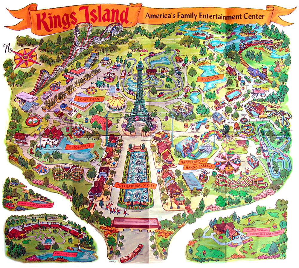 Kings Island 1972 souvenir park map poster.