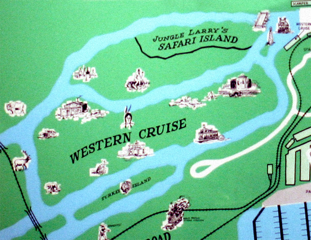 Cedar Point park map showing waterways and islands, late sixties.