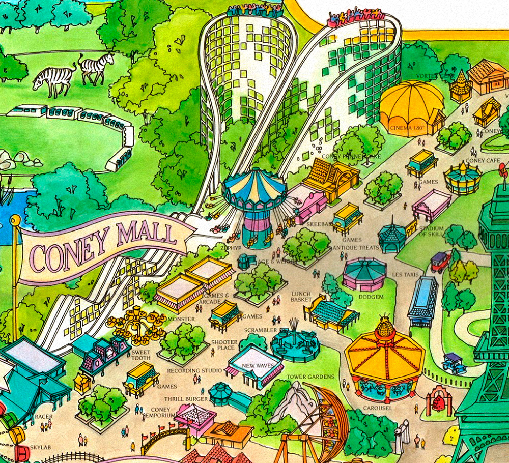 Coney Island area on Kings Island 1989 souvenir park map poster.